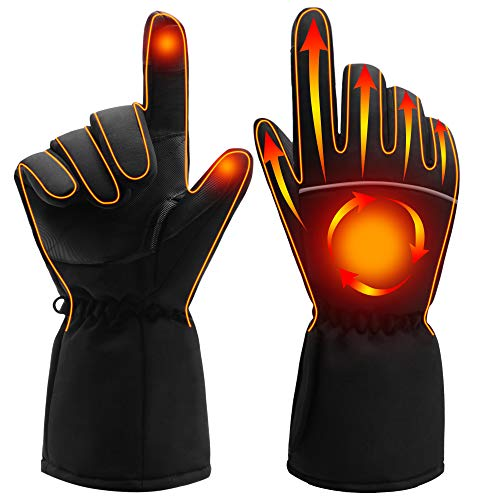 SPRING Electric Heated Gloves,Portable Battery Heating Thermal Gloves,Waterproof Touchscreen Gloves for Cycling,Motorcycle,Hiking,Snowboarding Outdoor Winter Sport