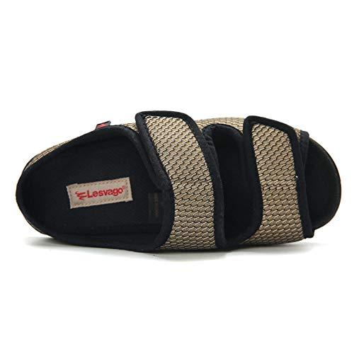 B/H Zapatillas diabéticas Ajustables ortopédicas para Mujer,Zapatos de Tela Ajustables para Ancho e hinchazón del pie, Zapatos para pie diabético-42_Black,Zapatos ortopédicos Ajustables