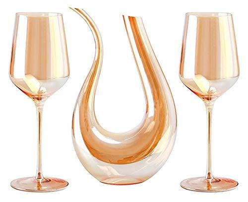 SoGuDio Decantador Decantador de Vino 750 ml y 2 Gafas de Cristal, con Vidrio de Cristal, Vino Rojo y Blanco, para Cualquier ocasión, Gran Regalo, Conjunto de 3, 18 oz Decantador de Whisky
