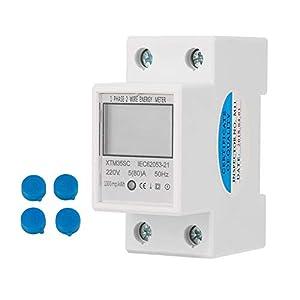 DEWIN Medidor de Consumo Electrico Wifi - Medidor Consumo Electrico DIN 220V 5 (80) A Digital monofásico 2 cables 2P medidor eléctrico de carril DIN Medidor electrónico de KWh