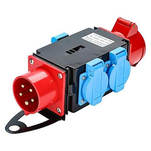 Clanmacy Kraftstrom Starkstrom Verteiler CEE 400V/16A+3 x 230V Schutzkontaktsteckdosen Industrie Stromverteiler 5 Polig IP44 Mit Sicherheitsklappdeckeln Für Baustelle