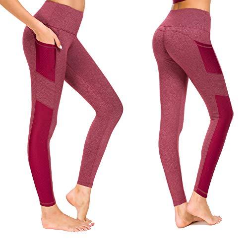 Munvot Damen Sporthose Sport leggings Tights, Wein Rot, L (DE40-42)