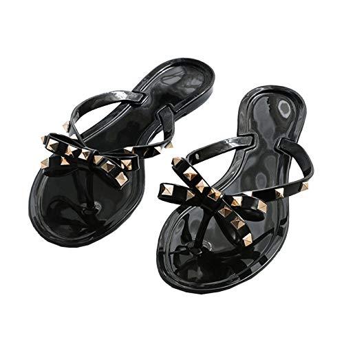 Prosper Einfache Frauen Sandale, Sommer Flip Flop Modische Sandale, Neue Sommer Flache Sandalen Und Hausschuhe, Bowknot Niet-Hausschuhe, Flip-Flops, Gelee-Strandsandalen Und Hausschuhe