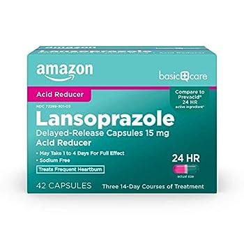Amazon Basic Care Lansoprazole Delayed Release Capsules 15 mg treats frequent heartburn White 42 Count