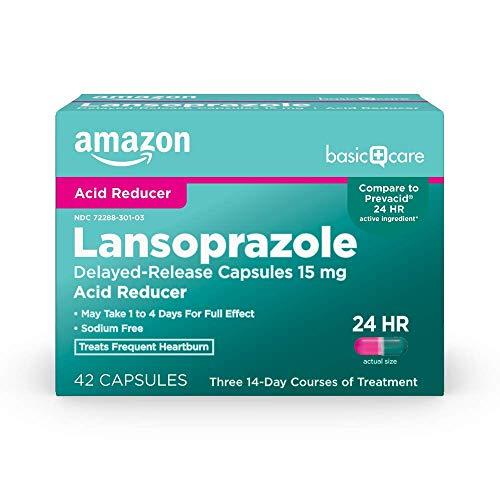 Amazon Basic Care Lansoprazole Delayed Release Capsules, 15 mg, treats frequent heartburn, White, 42 Count