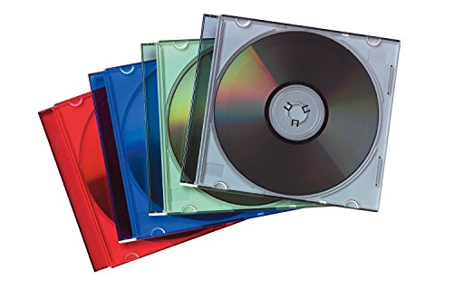 Fellowes 98317 - Pack de 25 Cajas Estuche para CDs/DVDs Slim, Multicolor