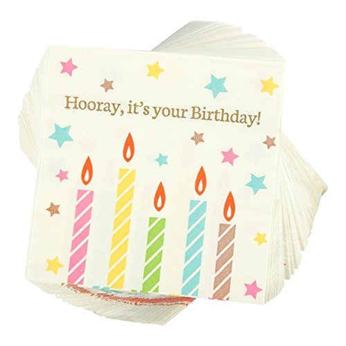 Hooray It's Your Birthday Party Supplies, Paper Napkins (5 x 5 In, 100 Pack)