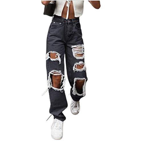 Cocila High Waist Löcher Jeans Damen Baggy Zerrissene Jeanshose, Freizeit Straight Wide Leg E-Girl Style Jeans, Harajuku 90er Jahre Hip Hop Gerade Trousers