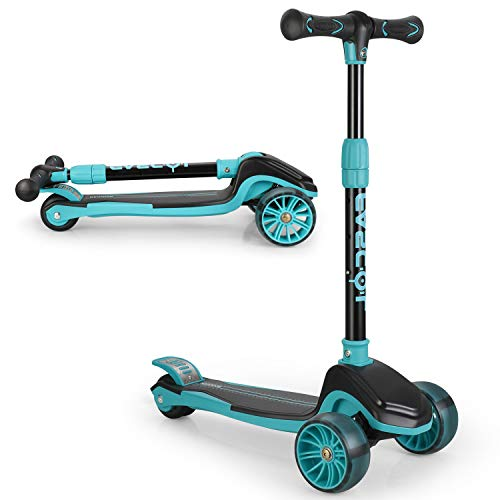 Fascol Kinderroller Scooter ab 3-12 Jahre Klappbar Kinderscooter mit LED Räder und Höhenverstellbarer Lenker, Tretroller für Kinder Belastbarkeit bis 50 kg, Blau