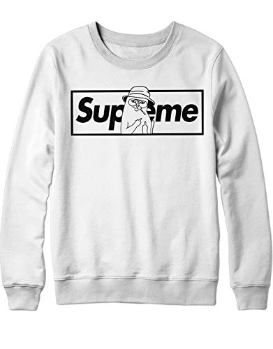 HYPSHRT Herren Sweatshirt Supeme Bad Cat Parody C000393 Weiß M