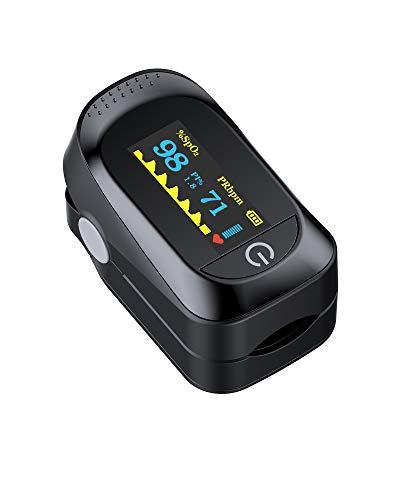 Pulse Oximeter Fingertip, Blood Oxygen Saturation Monitor,Blood Oxygen Saturation Monitor with Pulse Rate, Upgrade Pulse Oximeter with Lanyard and 2 Batteries