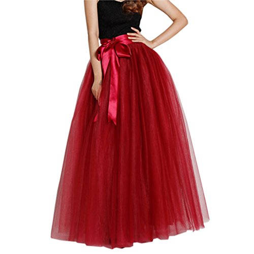 Lisong Women Floor Length Bowknot Tulle Party Evening Skirt 16 US Wine Red