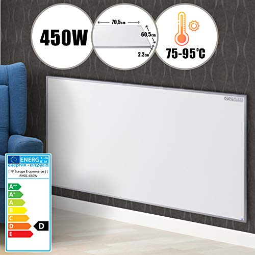 Panneau de Chauffage - 450 W ou 580 W, Fibre Carbon, LED avant, Blanc - Chauffage ultra plat, Rayonnant Infrarouge, Chauffage Infrarouge, Radiateur Électrique