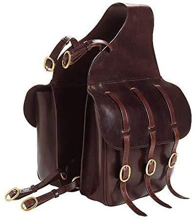Equipride Excelsior - Alforjas para silla de montar (piel), color negro y marrón