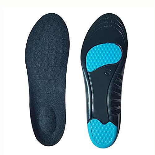NJBYX Mujeres Hombres Gel Plantillas Deportivas Amortiguador PU Que Funciona Cojín de Baloncesto Insertar Pad Externo sobre Sole para LA FASTISIONES PLANTARIOS (Color : Blue, Size : L (EU 42-44))