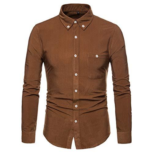 AOWOFS Men's Corduroy Button Down Shirt Casual Slim Fit Fashion Long-Sleeve Shirt Brown