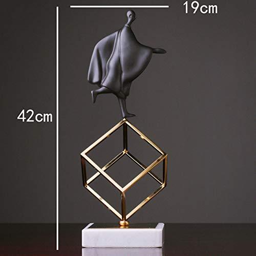 YYMMQQ Kleine Buddha-Statue Nordic Abstract Gymnastics Charaktere Statue Metall Marmor Ornamente Home Decoration Zubehör Geschenk Geometrische Skulptur, A.