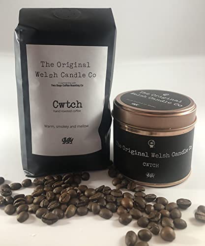 Cwtch Café & Vela perfumada Welsh Gift Set, perfecto regalo galés.