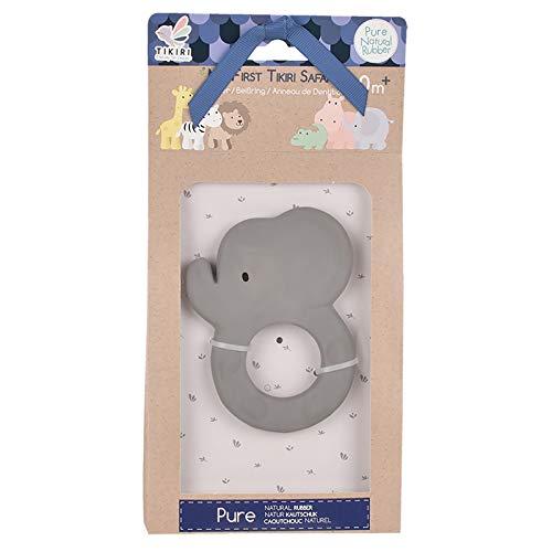 Tikiri TR-91501 8591501 Kautschuk Beißring Elefant, Zahnungshilfe aus Naturkautschuk, für Babys ab 0+ Monaten
