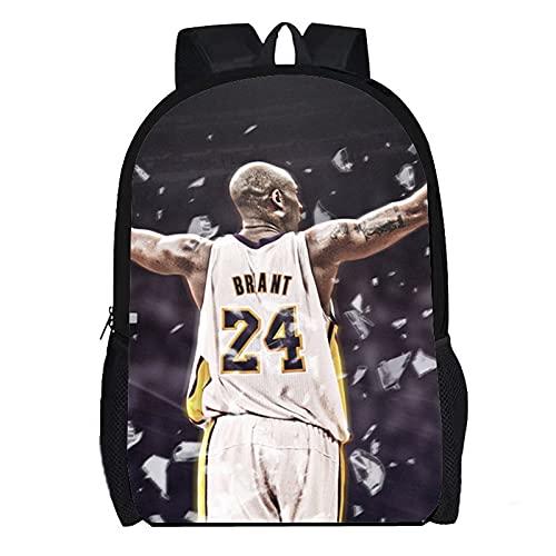 DBCJVB Mochila de moda de tela Oxford 40x30x15cm baloncesto deportivo kobe Bryant Campus mochila escolar al aire libre viaje bolsa ligera para acampar