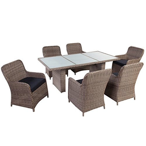 SSITG Dining Set 13 Pieces PE Rattan Garden Furniture Set Lounge Garden Set