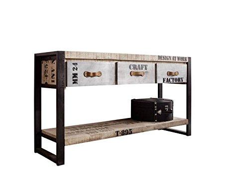 MASSIVMOEBEL24.DE vollmassiv Möbel Mango Holz Eisen Bedruckt Konsolentisch Industrial-Stil Massivholz Massivmöbel Factory #134