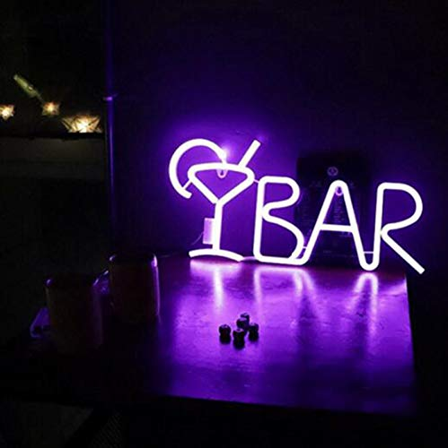 DKZ LED Neonlichtzeichen, Bar Brief Bar Neon Cocktail Zeichen, Einstellbares Helligkeitszeichen Licht Mit USB Oder Batteriekraft, Für Wohnzimmer, Schlafzimmer, Hotel,Lila