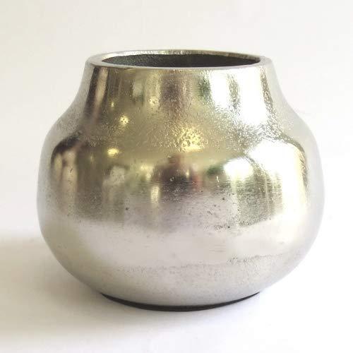Colmore Vase Deko Blumen Metall Silber Rund Tisch Mini 14x14x11 cm