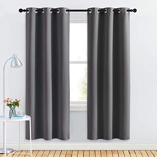 NICETOWN Grey Blackout Curtain Panels for Bedroom, Thermal Insulated Grommet Top Blackout Draperies and Drapes for Basement (2 Panels, W34 x L72-inch, Grey)