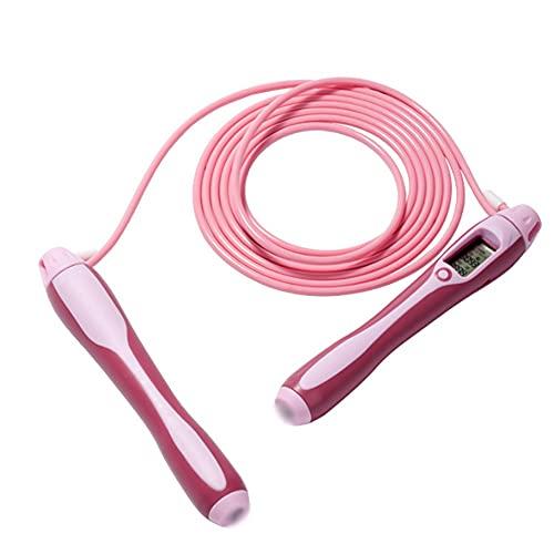 Saltar La Cuerda para Adaultos Sin Enredos con Rodamientos De Bolas Comba De Saltar Asa De Espuma Ajustable Y con Memoria Cuerda para Saltar (Color : Pink)