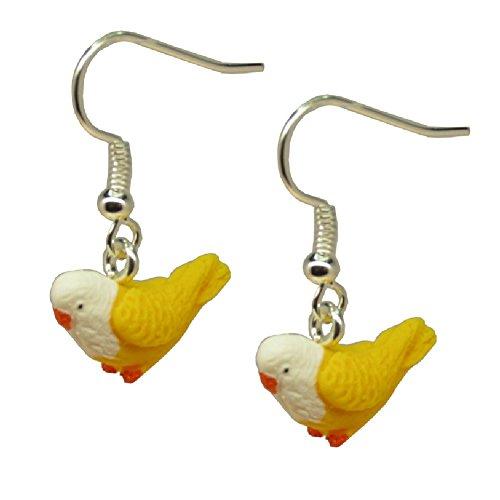 Handmade Miniature Yellow White Pet Budgie Budgerigar Bird Inspired Earrings - Gift Boxed