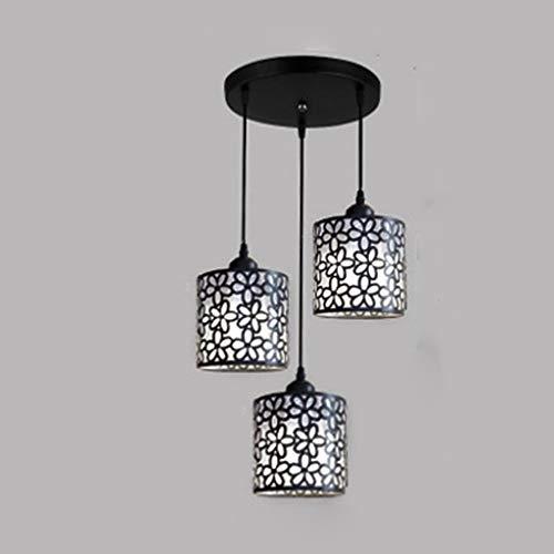 TVDCC Lámparas colgantes nórdicas modernas, lámpara colgante de hierro ahuecada, lámpara colgante, decoración del hogar para comedor, dormitorio, tienda, Bar (Color : Black)