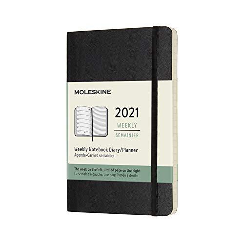 Moleskine Wochenplaner 2021, 12 Monate Wochenkalender, Wochenplaner und Notizbuch, weicher Einband, Format Pocket 9 x 14 cm, farbe schwarz, 144 Seiten