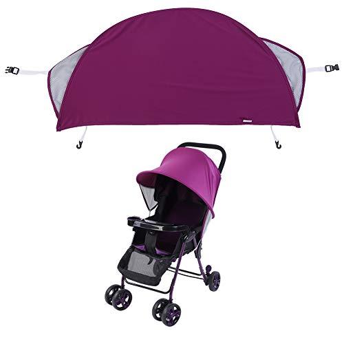 Sombrilla para cochecitos, 33.46 * 18.9in Cochecito de bebé para niños Cochecito Cochecito Buggy Canopy Cover(Púrpura)