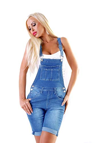 OSAB-Fashion 11064 Damen Jeans Latzhose Denim Latz-Bermuda Shorts Hotpants Latzjeans