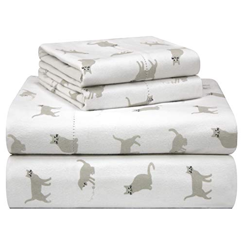 Cat Printed Flannel Sheets