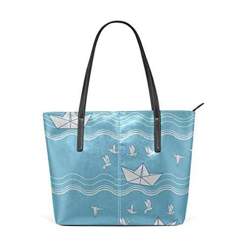 BAODANLA Borse a spalla da donna Laptop Tote Bag Ships Fish Sun Clouds Sea And Waves Large Printed Shoulder Bags Handbag Pu Leather Top Handle Satchel Purse Lightweight Work Tote Bag For Women Girls
