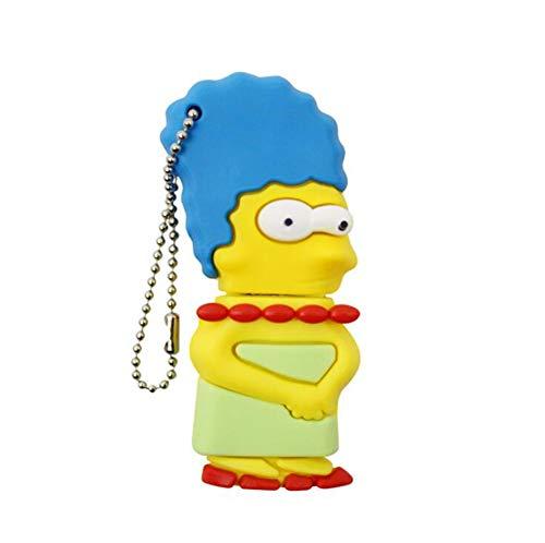 Memorias USB Memoria Flash Pulgar Memoria USB2.0 Creativo Dibujos Animados Bart Simpson Lisa Simpson Homero Simpson Gel De Sílice 4/8/16/32/64 / 128GB Regalo PC TV MP3 para Coche (4GB,Marge Simpson)
