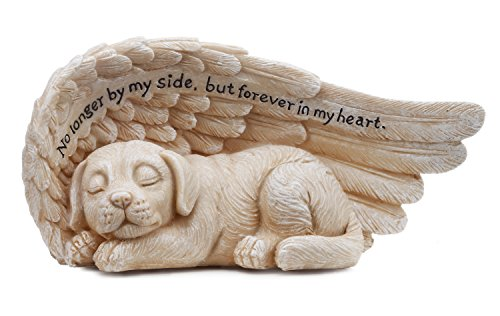 Small Sleeping Dog in Angel's Wing Garden Statue with Inscription, 8 x 4 - Napco 11146