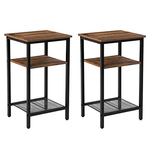VASAGLE INDESTIC End Table, Nightstand Industrial Style, Heavy-Duty Steel Frame, Living Room Bedroom, Simple Assembly, 2-Pack, Chestnut Brown, Black