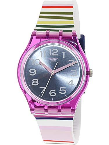 Swatch Funny Lines GP153 - Reloj de pulsera de cuarzo suizo, silicona, color morado