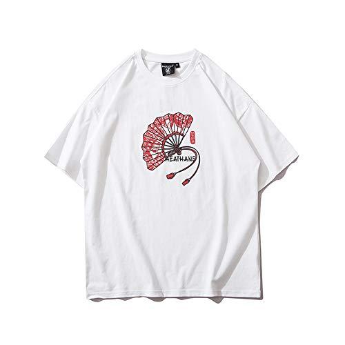 DREAMING-Camiseta de Manga Corta para Hombres y Mujeres, Camiseta de algodón con Cuello Redondo y Estampado Suelto, Camiseta de Pareja Superior, Pantalones de Verano S