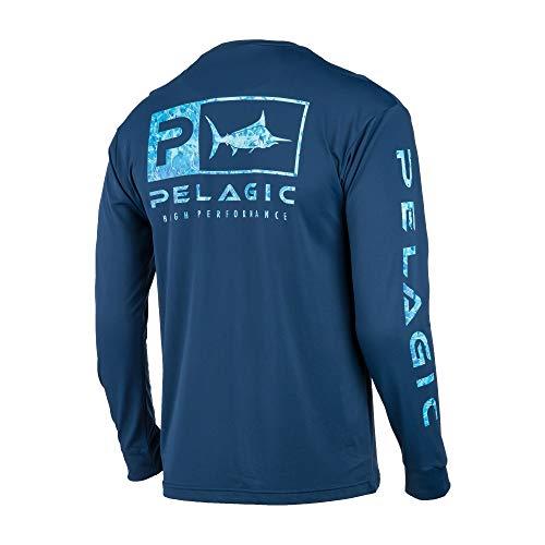 PELAGIC Aquatek Icon Long Sleeve Performance Shirt | Size L | Navy