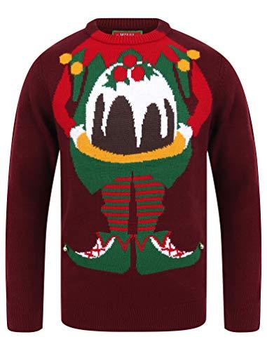 Tokyo Laundry - Maglione natalizio da uomo con scritta 'Merry Christmas' Chill Out Oxblood L