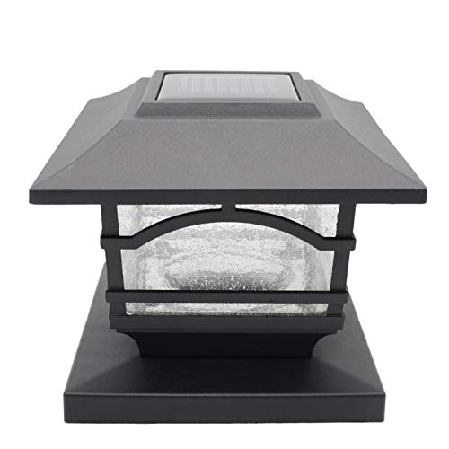 Davinci Premium Solar LED Post Cap Light – Outdoor Light for Fence Deck or Patio - Solar Powered Caps, Warm White Lighting, Aluminum, Lamp Fits 4x4 or 6x6 Posts (1 Pack)