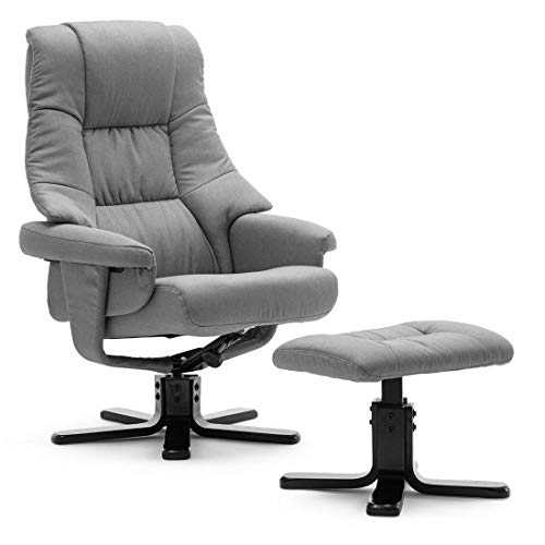 More4Homes SORENTO FABRIC SWIVEL RECLINER ARMCHAIR CHAIR with FOOT STOOL (Grey)