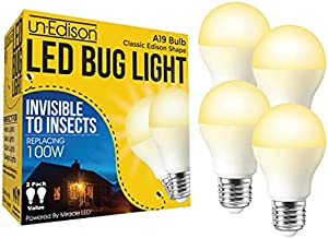 Un-Edison A19 LED Bug Light Yellow Spectrum E26 Pest Control Bulb for Outdoor Porch & Patio Replacing 100 Watts of Old, Painted, Incandescent Bug Bulbs 4 Pack, 601136