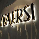 8 moderno retroiluminado 3D flotante número de casa, oro, letra 0-9 y A-Z signo de número de dirección familiar, letreros iluminados para exteriores, centros callejeros y supermercados de patio