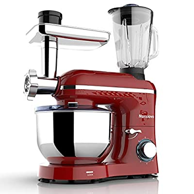 Nurxiovo 3 in 1 Stand Mixer, 850W Tilt-Head 6.5QT Kitchen Food Mixer, 6 Speed with Pulse Electric Mixer, Multifunction Standing Mixers, Meat Blender and Juice Extracter Red