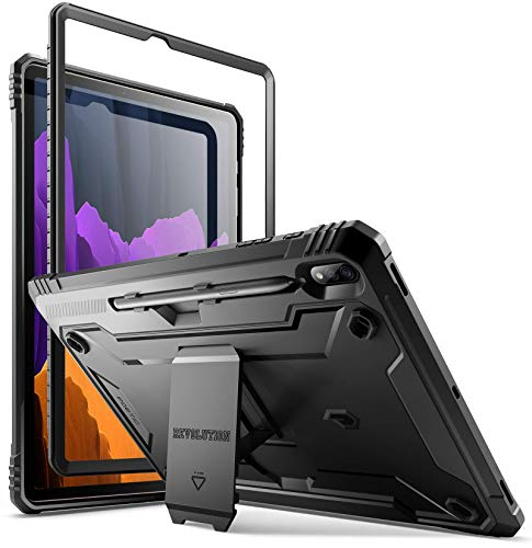 Poetic Revolution for Samsung Galaxy Tab S7 Plus Tablet Case, 12.4 Inch (2020 Release) SM-T970/ SM-T975, Full-Body Heavy Duty Case with S Pen Holder, Support S Pen Wireless Charging, Black